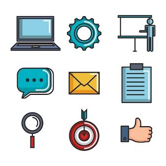 Włącz zestaw ikon biznesowych