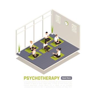 Włączenie Jogi Do Składu Izometrycznego Psychoterapii Premium Wektorów