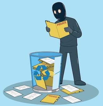 Włamywacz czytający usunięte dokumenty. prywatność, koncepcja projektowania technologii