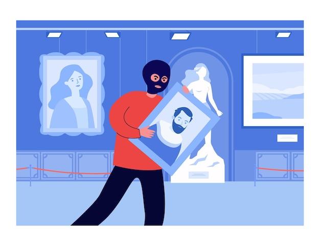Włamywacz w masce kradnący obraz z galerii sztuki. portret zły przestępcy gospodarstwa w muzeum w nocy płaskie wektor ilustracja. przestępczość, koncepcja bezpieczeństwa banera, projektu strony internetowej lub strony docelowej