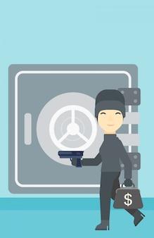 Włamywacz z pistoletem blisko bezpiecznej wektorowej ilustraci.