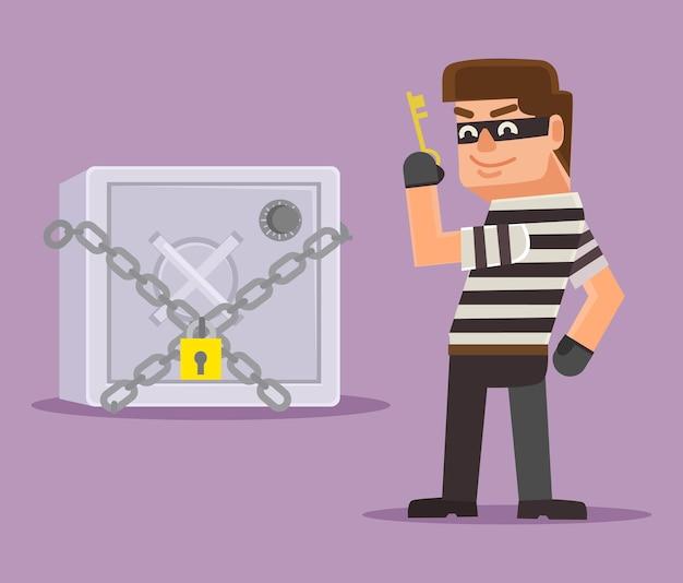Włamywacz złodziej próbuje włamać się do sejfu