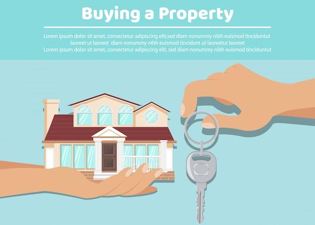 Właściciel daje klucze najemcy, szablon transparent