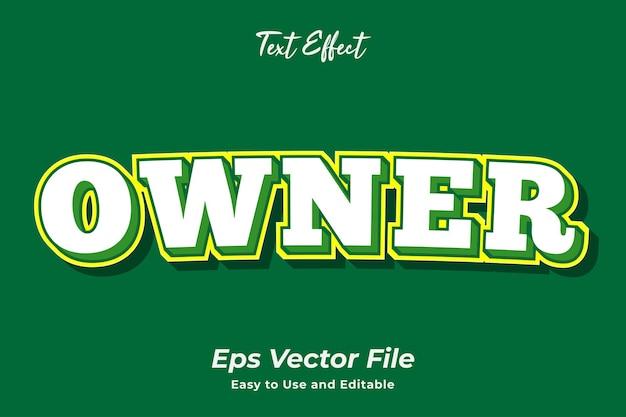 Właściciel efektu tekstowego edytowalny i łatwy w użyciu wektor premium