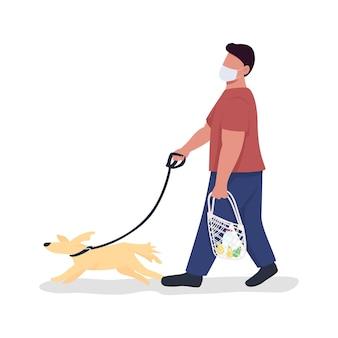 Właściciel zwierzaka z psem na smyczy pół płaski kolor wektor znak cała osoba na białym tle
