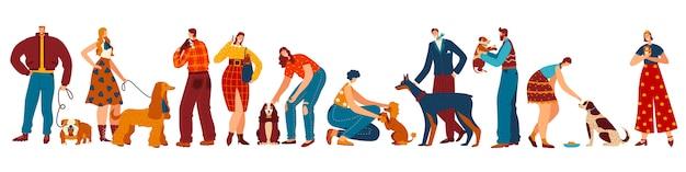 Właściciele psów, ludzie i ich zwierzęta domowe postaci z kreskówek, różne rasy zwierząt domowych, ilustracja