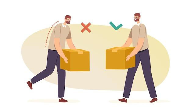Właściwa i niewłaściwa koncepcja ręcznego przenoszenia i podnoszenia ciężkich towarów. zdrowie pleców i kręgosłupa. postacie męskie prawidłowo i niewłaściwie noszą kartony w rękach. ilustracja wektorowa kreskówka ludzie
