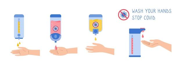 Właściwe mycie rąk środek dezynfekujący do ścian konserwacja zapobiegawcza bakterie zestaw kreskówek mycie rąk dezynfekcja higieny sanitarnej infografika kolekcja antyseptycznych żeli opieka zdrowotna