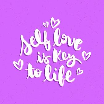 Własna miłość napis cytaty ilustracja