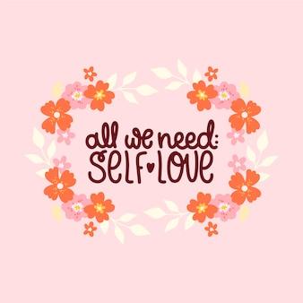 Własna miłość napis z kwiatami