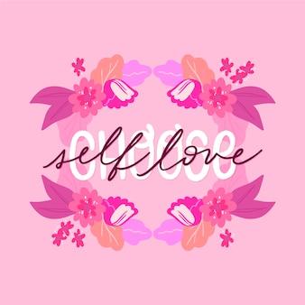 Własna miłość napis z tapetą kwiaty