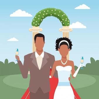 Właśnie małżeństwo trzyma kieliszki do szampana, kolorowy design