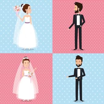 Właśnie małżeństwo ustawiło zdjęcia