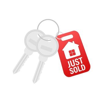 Właśnie sprzedany klucz na białym tle. czas ilustracja wektorowa.