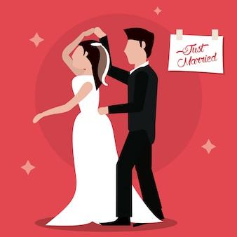 Właśnie zamężna dancingowa para szczęśliwa