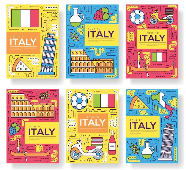 Włochy karty cienka linia zestaw ilustracji