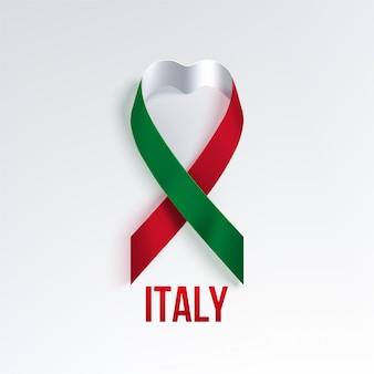 Włochy krajowa trójkolorowa wstążka w kształcie serca
