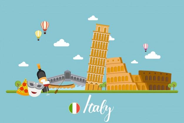 Włochy podróżuje krajobrazy wektorowych ilustracji