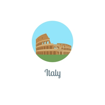 Włochy punkt orientacyjny na białym tle okrągły ikona