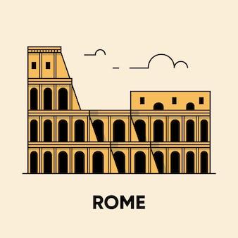 Włochy, rzym, koloseum, ilustracja podróży, płaska ikona