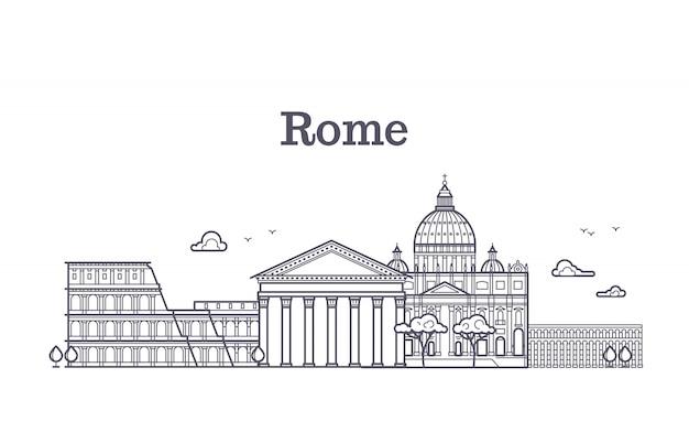 Włochy rzymu architektura, europe linii horyzontu wektorowa liniowa kolekcja