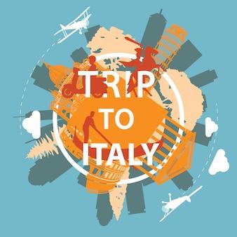 Włochy styl słynny punkt orientacyjny sylwetka