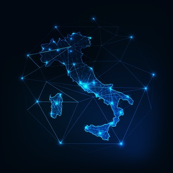 Włochy świecące low poly zarys mapy