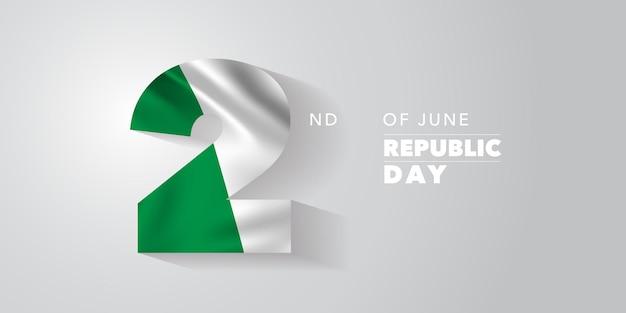 Włochy szczęśliwy dzień narodowy republiki na 2 czerwca tło z flagą