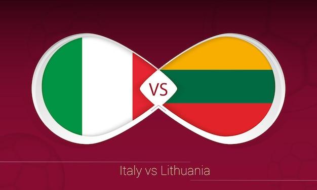 Włochy vs litwa w piłce nożnej, grupa c. kontra ikona na tle piłki nożnej.