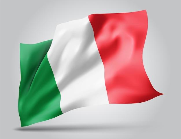 Włochy, wektor flaga z falami i zakrętami macha na wietrze na białym tle.