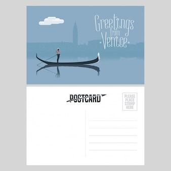 Włochy, wenecki projekt pocztówki z gondolą i gondolierem w kanale weneckim
