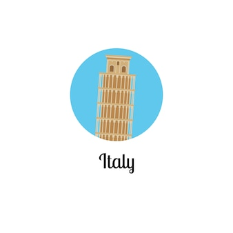 Włochy wieża punkt orientacyjny na białym tle okrągły ikona