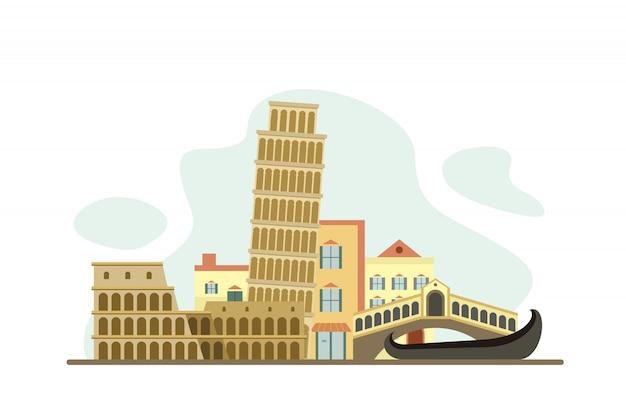 Włochy znani zabytki w tle