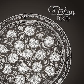 Włoska pizza ręcznie rysowane włoskie jedzenie