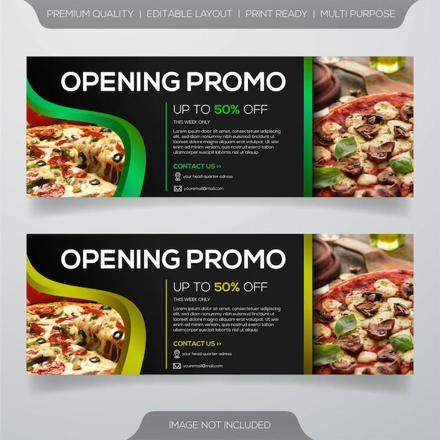 Włoska pizza restauracja transparent szablon projektu