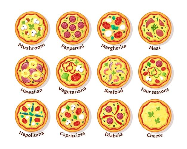 Włoska pizza. tradycyjne pyszne jedzenie z dodatkami kiełbasa ser warzywa włoska kuchnia pizza widok z góry