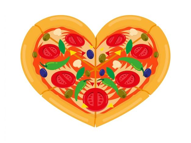 Włoska pizza w formie serca. kreskówki ilustraci miłości pizzy pojęcie.