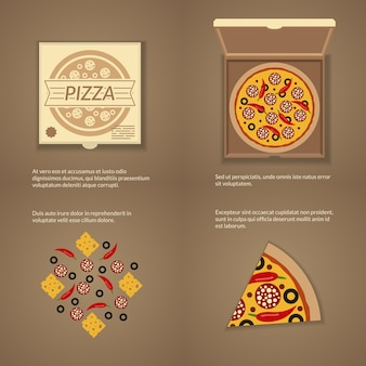 Włoska pizza w stylu płaski. pudełko tekturowe, ser i plasterek, przekąska obiadowa