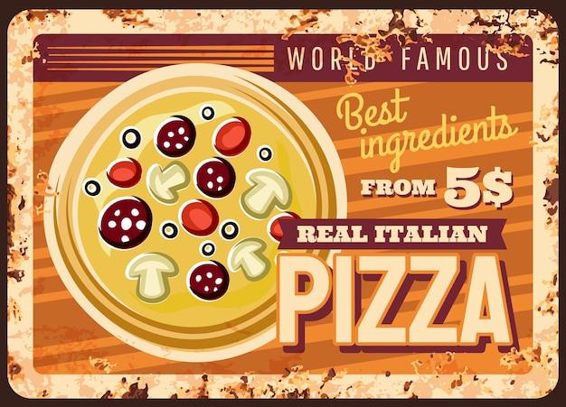 Włoska pizza zardzewiały metalowy talerz fast food vintage rust blaszany znak