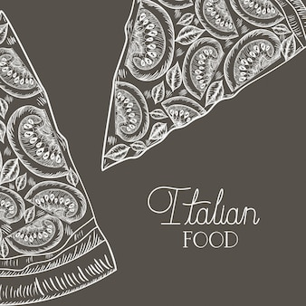 Włoska porcja pizzy ręcznie rysowane włoskie jedzenie