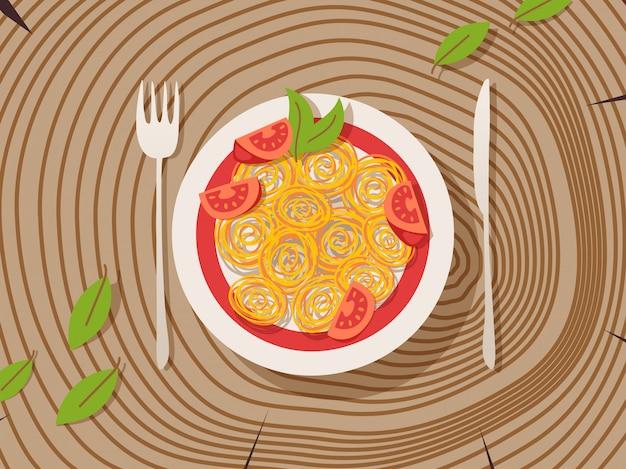Włoski makaron na talerzu, drewniany stół z teksturą