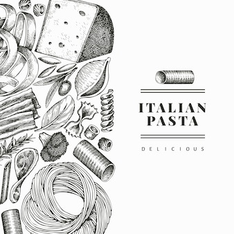 Włoski makaron z szablonem dodatków. ręcznie rysowane ilustracja jedzenie. grawerowany styl. rocznika makaronu różnego rodzaju tło.