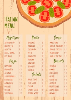 Włoski menu na textured drewnianym tle