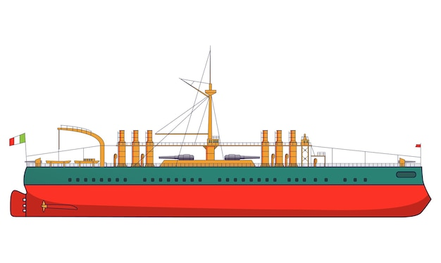 Włoski pancernik włochy walczy z artylerią morską. wojskowy statek z widokiem z boku dział i widokiem z góry. okręt pancerny.