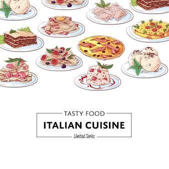 Włoskie dania kuchni narodowej potrawy tło