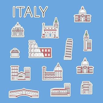Włoskie etykiety podróżne ustawione w stylu liniowym