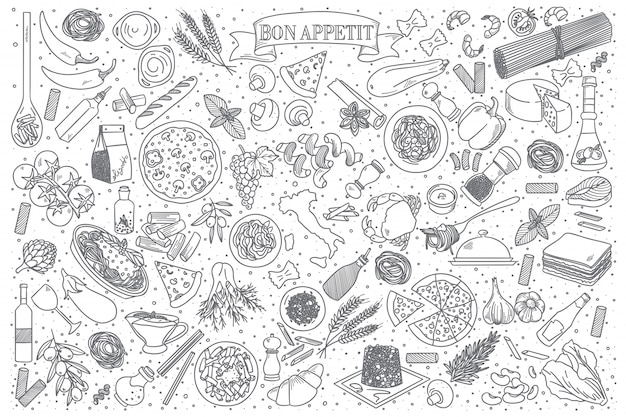 Włoskie jedzenie doodle wektor zestaw