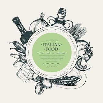 Włoskie jedzenie - ręka wektor ciągnione okrągły transparent z lato. realistyczna oliwa, oliwa, czosnek, ocet, makaron, pomidor, ostra papryka, ser lasagne z migdałami