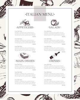 Włoskie menu - wektor czarno-białe ręcznie rysowane menu kompozytowe z lato. realistyczna oliwa, oliwa, czosnek, ocet, makaron, pomidor, ostra papryka, ser, migdał, lasagne.