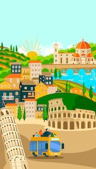 Włoskie miasta wycieczki autobusowe plakat, turystyka na wakacjach ilustracja miasta słynnych symboli włoch i zabytków. rzym.